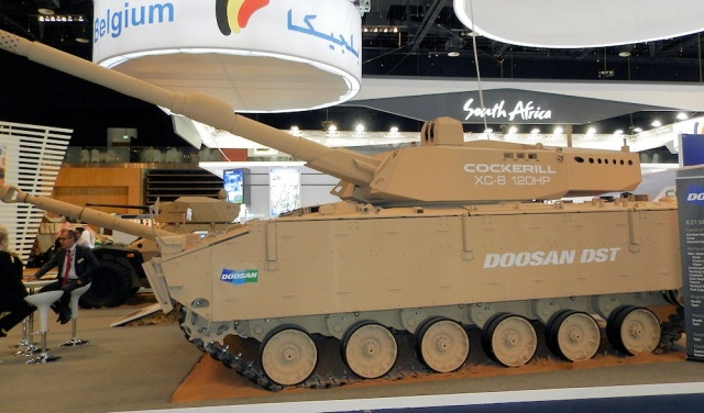 CMI Defence and Doosan DST presents a new concept of a medium tank with a gun, 120/105 mm