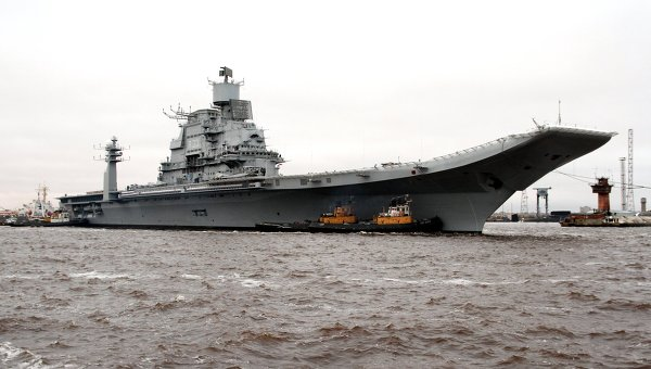 Refitted Aircraft Carrier Sails Out from Russia to India
